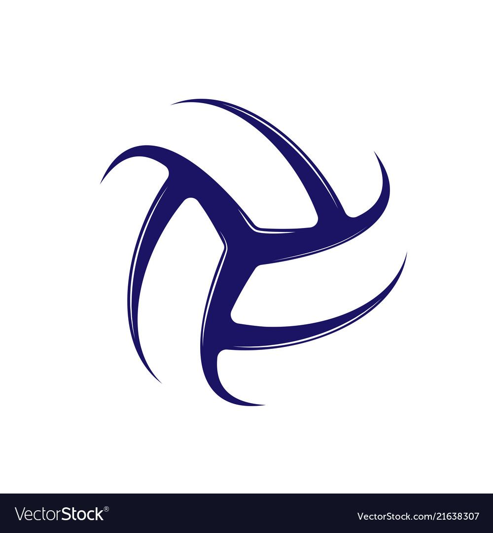Volleyball Blue Logo Vector Image On Vectorstock Vector Logo Volleyball Designs Volleyball