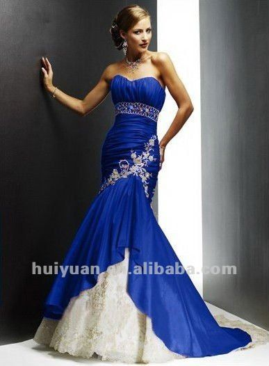 Royal Blue And White Wedding Dresses
