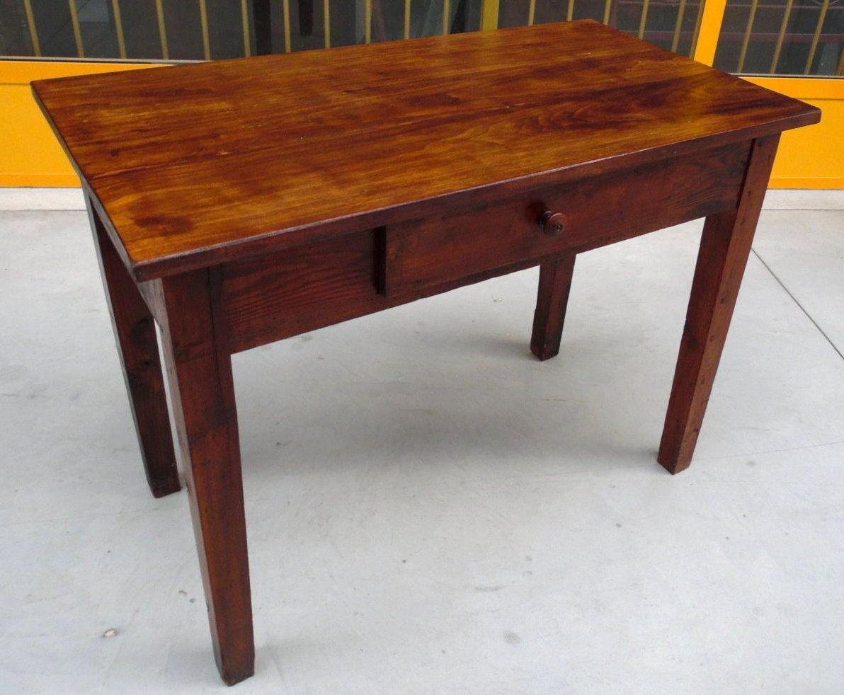 Tavolo scrittoio rustico in larice e pioppo con cassetto Piemonte '800