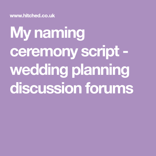 Wedding Planning Discussion
