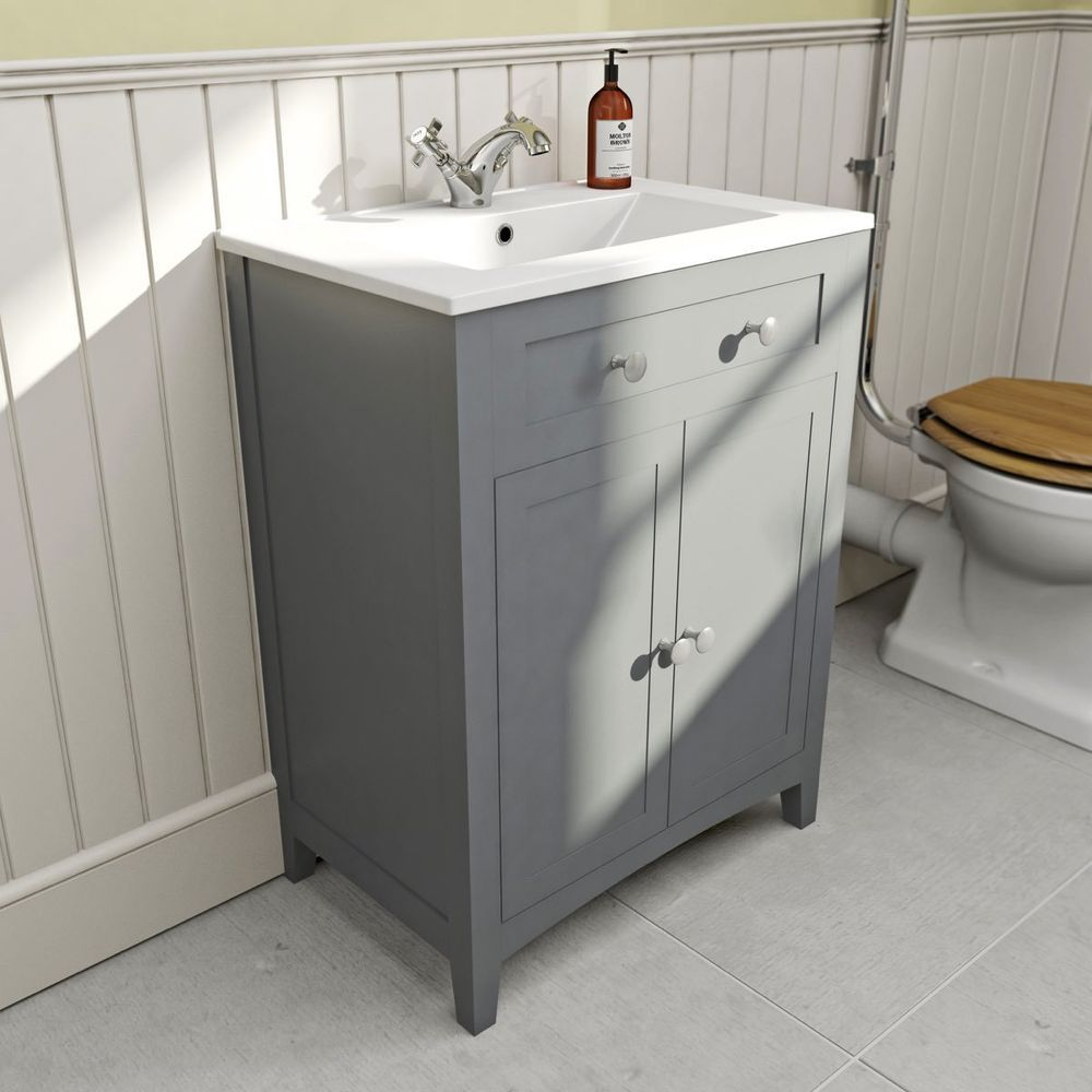 Images On  Traditional Grey Shaker Style Floor Standing Vanity Unit u Ceramic Basin