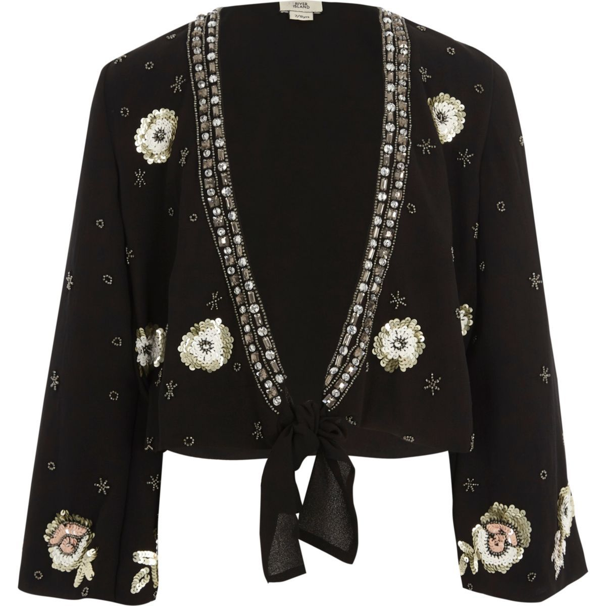 Girls black embellished tie front cover up woven fabric top top