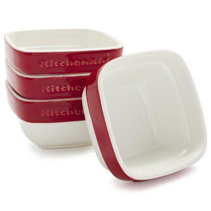 Kitchenaid Kblr04rmer 4 Piece Ceramic Ramekin Bakeware Set Empire