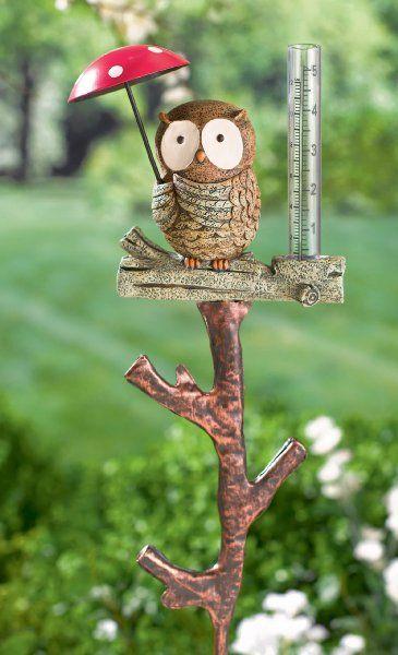 Grasslands Road Owl Rain Gauge Stake, Set Of Lawn U0026 Garden