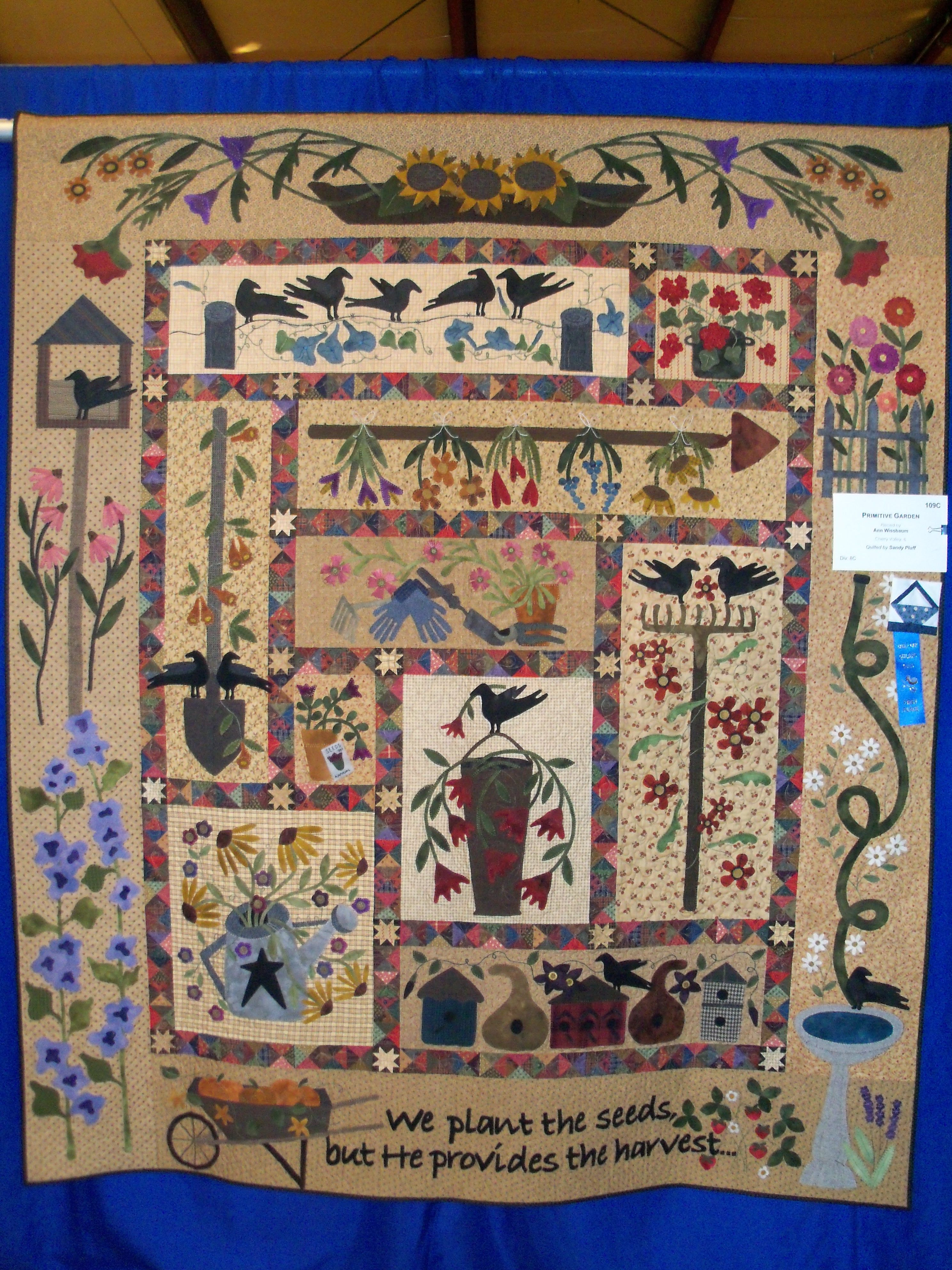 A Primitive Garden Pattern By Lisa Bongean Tapestries Can Tell So Many Stories Applique Quilts Primitive Quilts Crazy Quilts