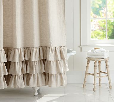 Ruffle Shower Linen Curtain 72 X 72 White At Pottery Barn Bath Shower Curtains Burlap