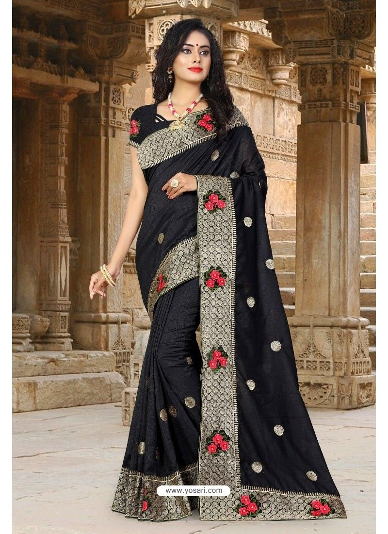 0807aa8da0 Black Vichitra Silk Resham Border Designer Saree in 2019 | Sarees ...