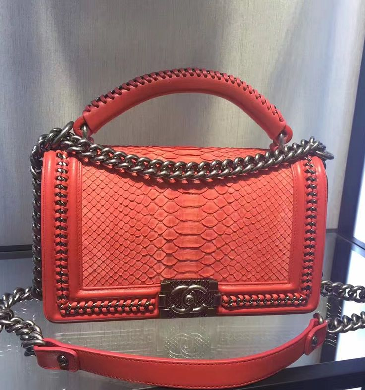 ca49e9ba6ddb Boy Chanel Flapbag with handle in Red Python Leather and Ruthenium Metal  Hardware. See more