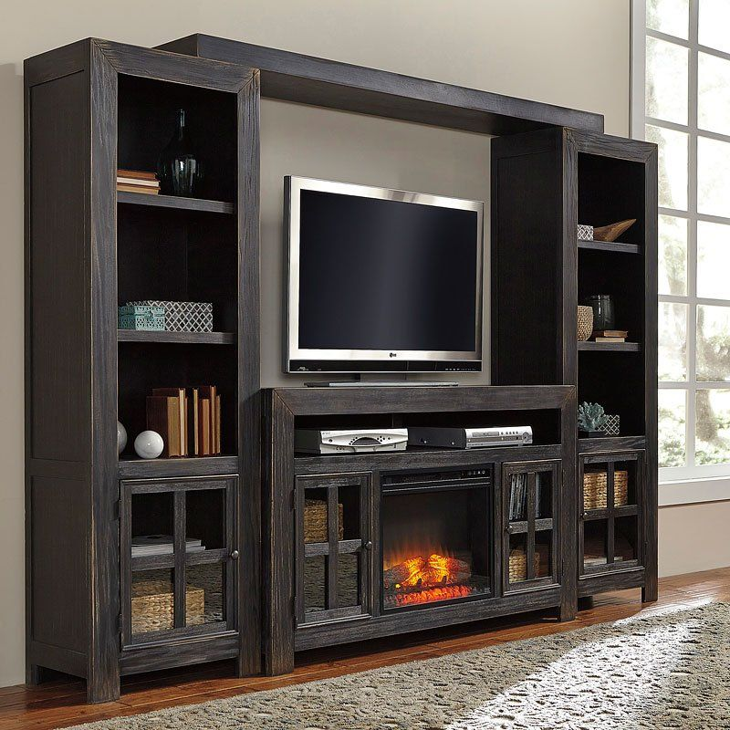 Gavelston Large Entertainment Wall W Fireplace In 2019