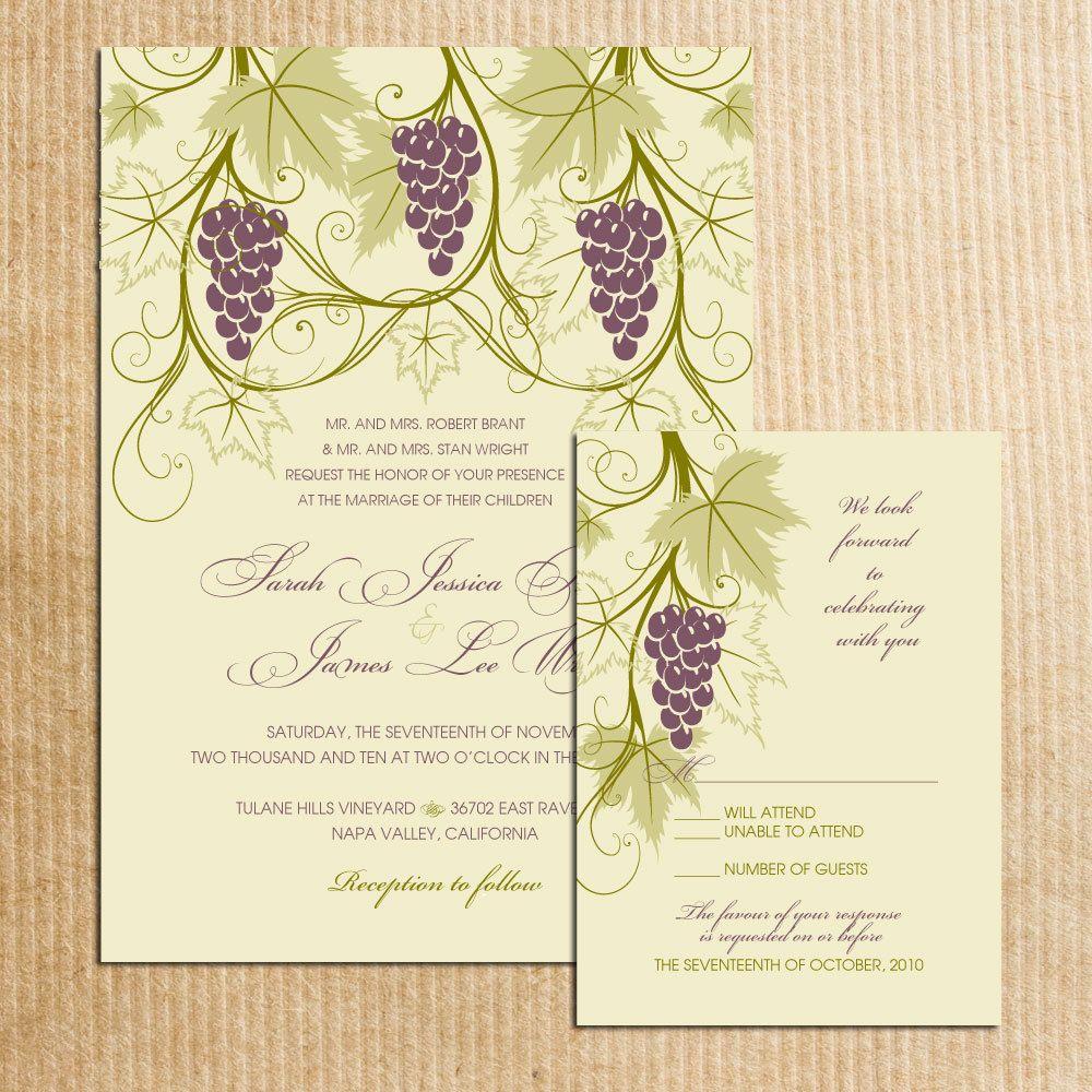 Vineyard Themed Wedding invitations -Stationery by ...