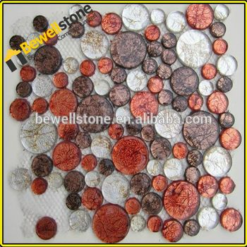 Rosa y rojo baldosas de vidrio de cristal de la teja de mosaico y vuelta para aera baño de hidromasaje