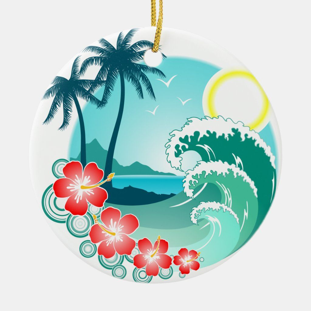 Hawaiian Island 2 Ceramic Ornament Zazzle Com Retro Surf Art Surf Art Art Collage Wall
