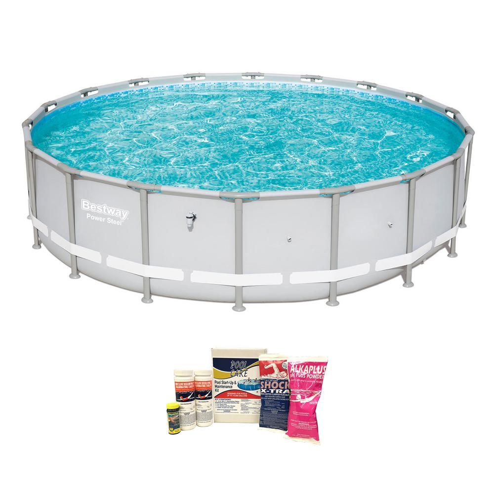 Bestway 18 Ft Round 48 In D Power Steel Frame Hard Side Above Ground Pool And Chemical Cleaning Kit 15441 Bw Qlc 42003 The Home Depot In Ground Pools Above Ground Pool Pool Chemicals