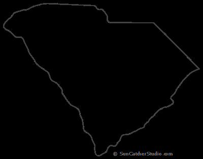 South Carolina State Shape Sticker Outline White State Shapes Gift Tags South Carolina