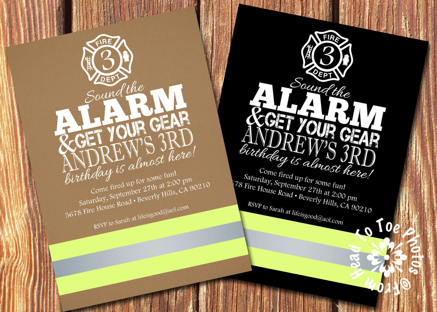 Firefighter Party Invitations by FromHeadtoToeDesigns on Etsy ...