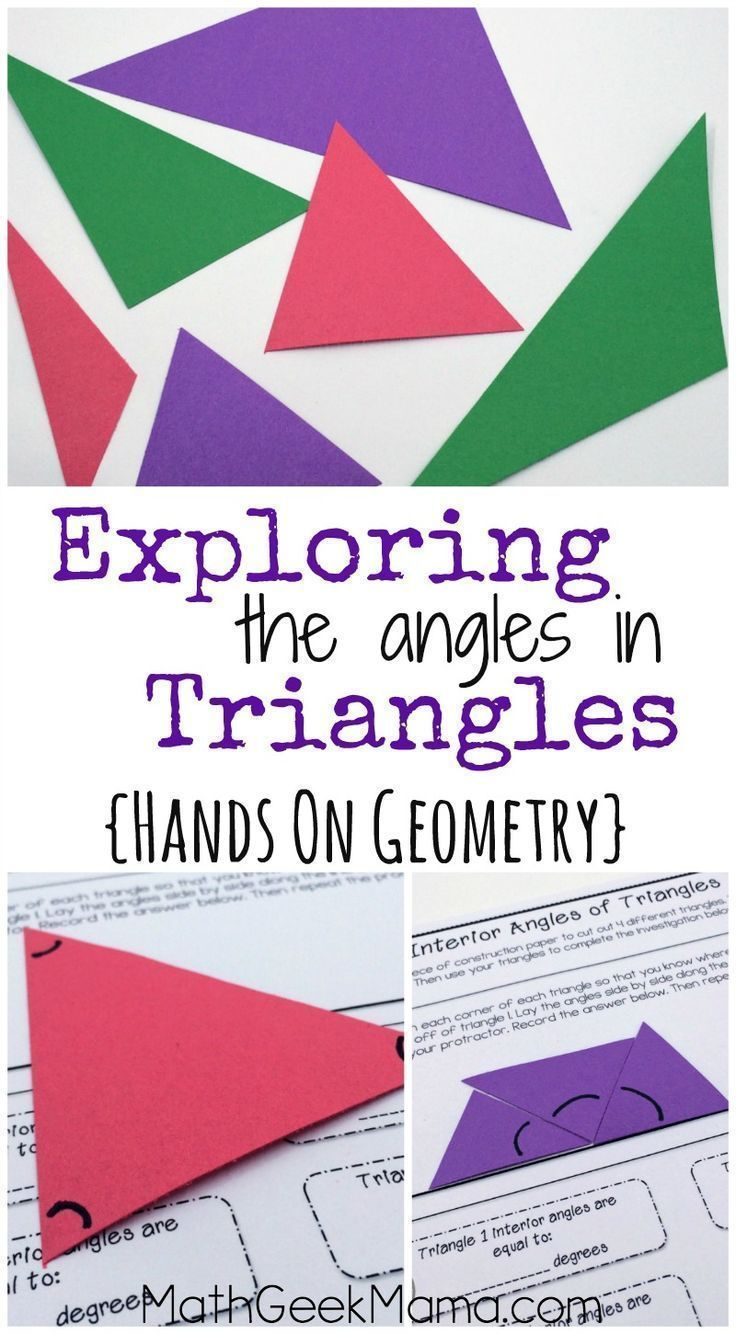 These hands on geometry lessons are such  great way to help kids see the relationship between interior and exterior angles in triangles also understanding math rh pinterest