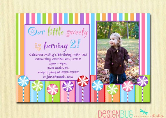 Girls Lollipop Birthday Party Invitation