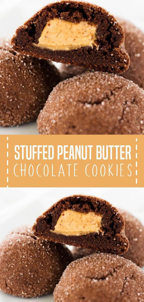 STUFFED PEANUT BUTTER CHOCOLATE COOKIES #peanutbuttersquares