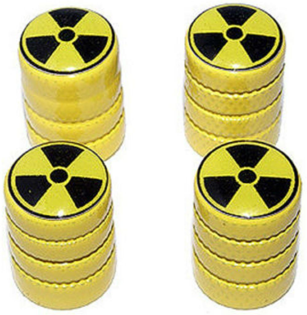 "(4 Count) Cool and Custom ""Diamond Etching Radioactive Symbol Top with Easy Grip Texture"" Tire Wheel Rim Air Valve Stem Dust Cap Seal Made of Genuine Anodized Aluminum Metal {Pineapple Jeep Yellow and Black Colors - Hard Metal Internal Threads for Easy Application - Rust Proof - Fits For Most Cars, Trucks, SUV, RV, ATV, UTV, Motorcycle, Bicycles}"