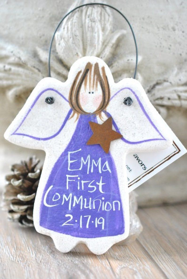 Girl Personalized First Communion Gift Salt Dough Angel