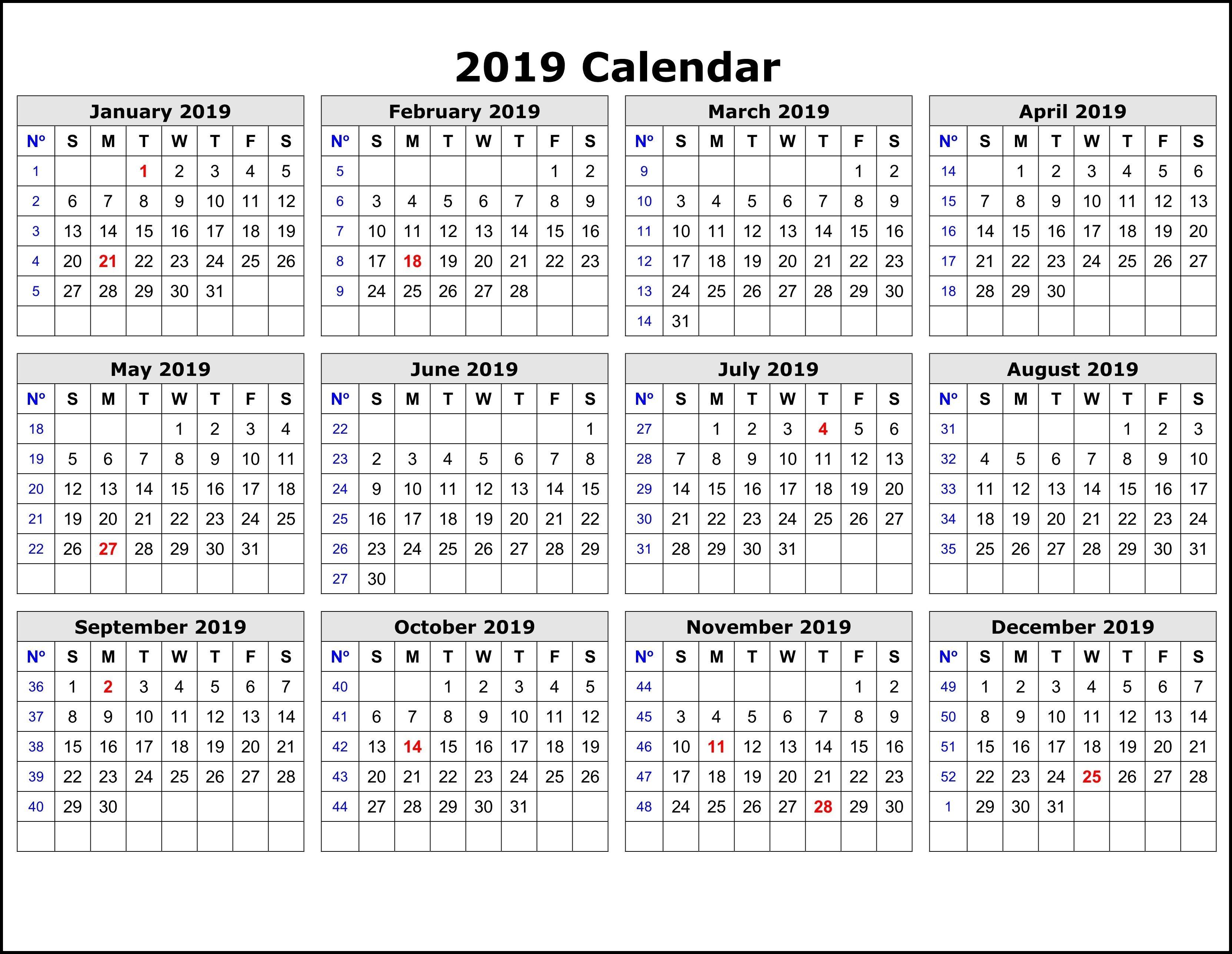 2019 Calendar Printable 12 Month Calendar On One Page Printable