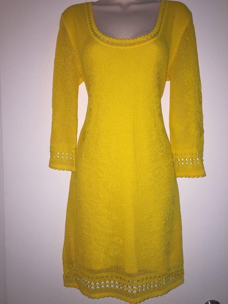 NWT IODICE very Beautiful Yellow Crochet Knit Dress Size Large  | eBay