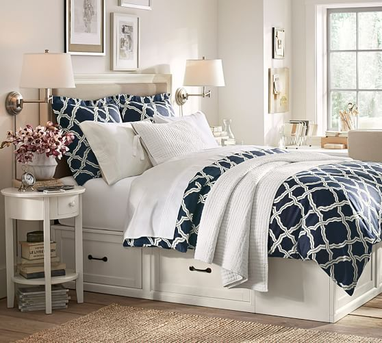 Kendra Trellis Duvet Cover & Sham - Midnight | Pottery Barn Love the bedroom, night stand and bed frame!!!! Also the duvet!