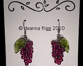 Grape Cluster Earrings - Dark Red