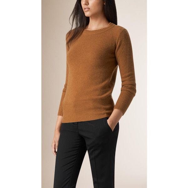 Burberry Crew Neck Cashmere Sweater (£460) ❤ liked on Polyvore featuring tops, sweaters, crewneck sweater, burberry sweater, brown sweater, crew neck tops and ribbed top
