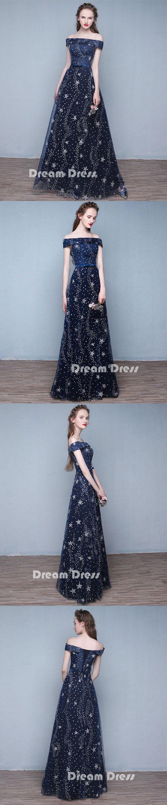 Blue long prom dresses off shoulder evening dressespd long