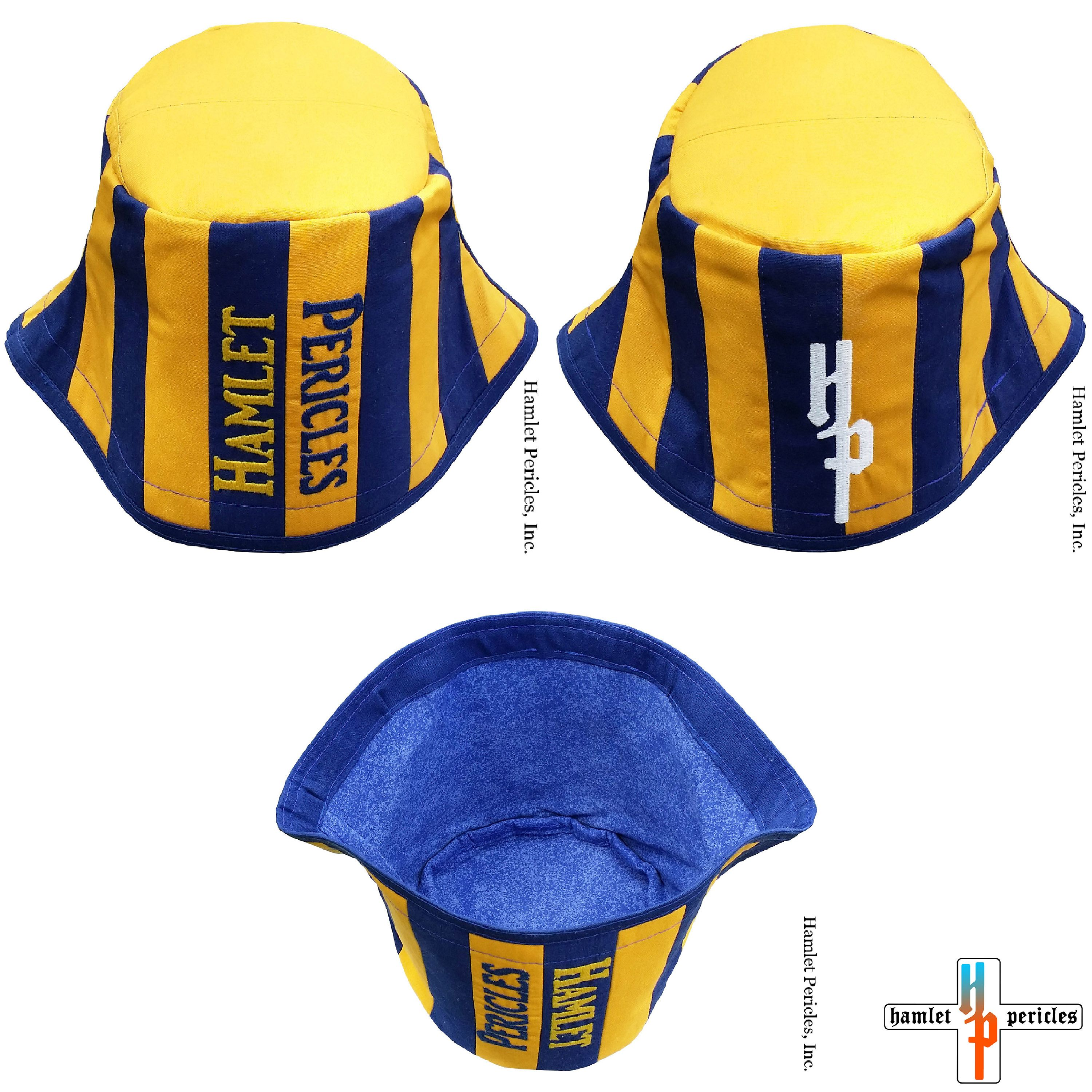 dec782a8890 Gold + Blue Stripe Poly-cotton Trigger Bucket Hat via Hamlet Pericles