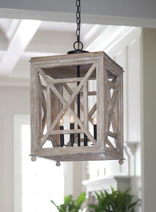 Regina Andrew Wood Lattice Lantern Chandelier Light Fixtures Within