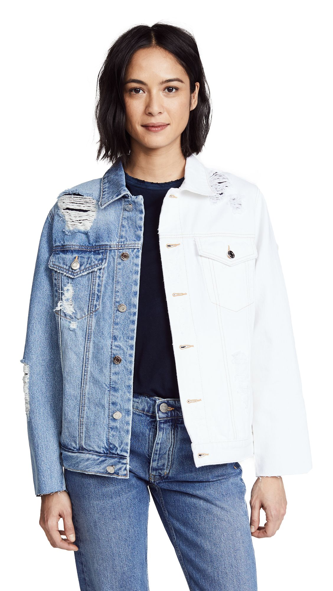Sjyp Half And Half Denim Jacket Sjyp Cloth Denim Jacket Jackets Sjyp [ 2000 x 1128 Pixel ]