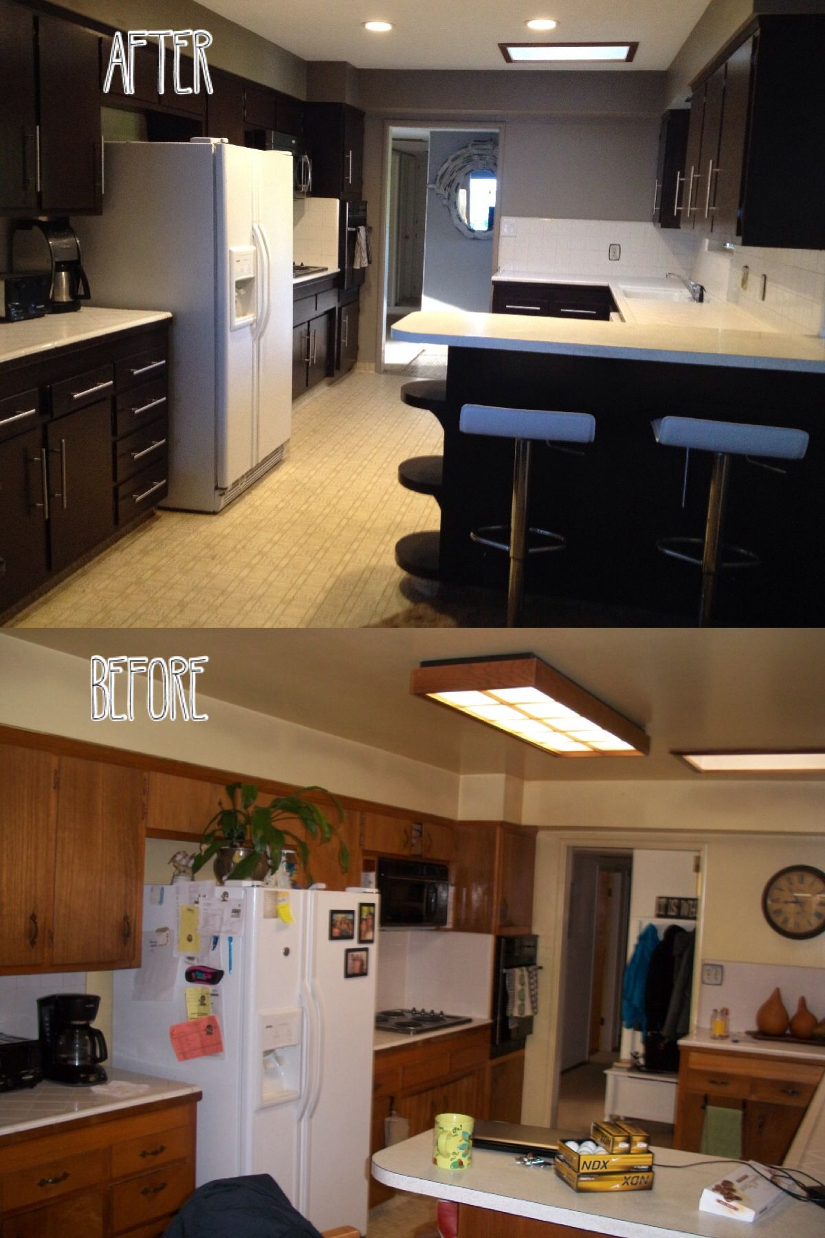 """DIY Kitchen cabinet""  1963 kitchen cabinets transformed with ""Behr Sweet Molasses"" paint."