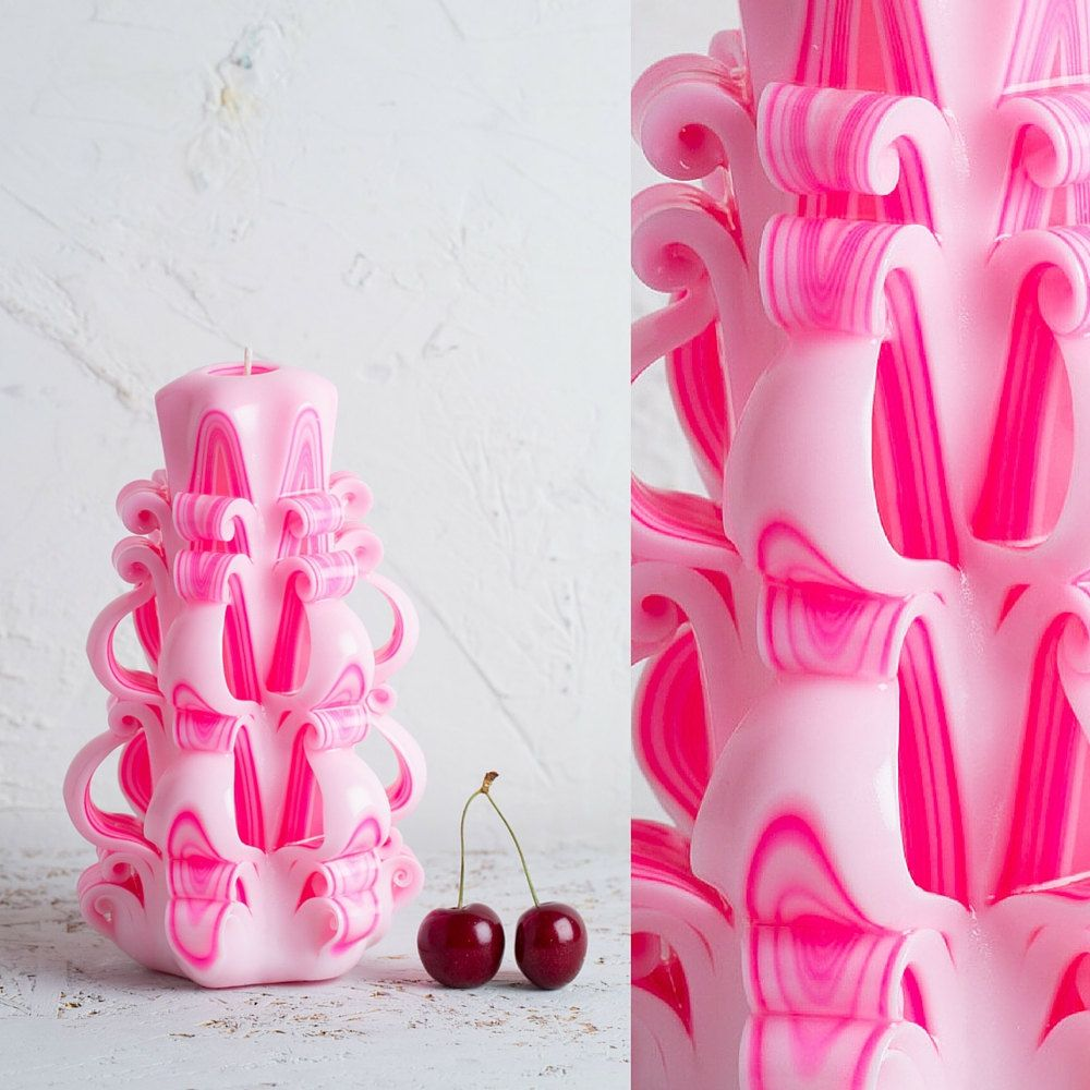 Medium Pink candle - резные свечи - Special gift - Carved candles ...