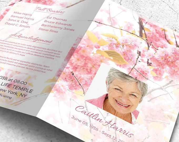 Printable Memorial Program  Printable Funeral Program Template