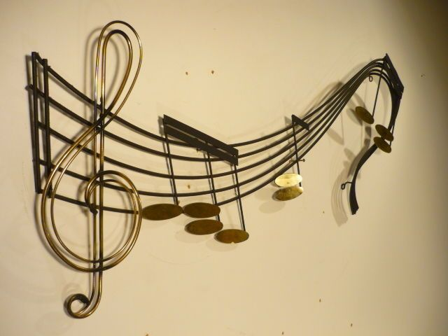 Mid 20th Century Modern Original Signed C. Jere Musical Notes Wall ...