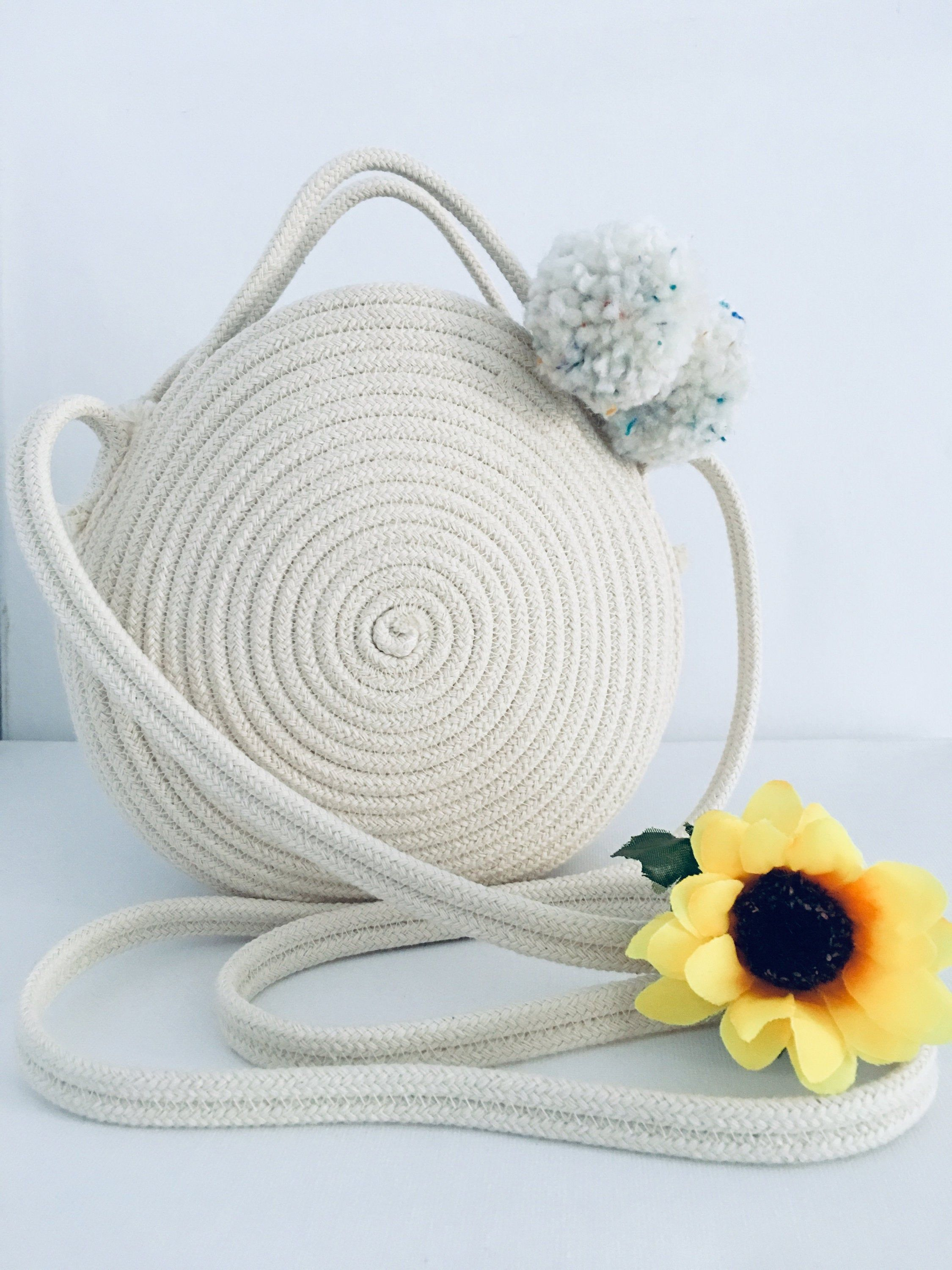 Photo of Items similar to Handbag Rope Round Woven Handbag. Crossbody Cotton Bag. Summer Handbag. Round Basket  Bag. Rope bag. Gift Ideas. Shoulder Bags. on Etsy