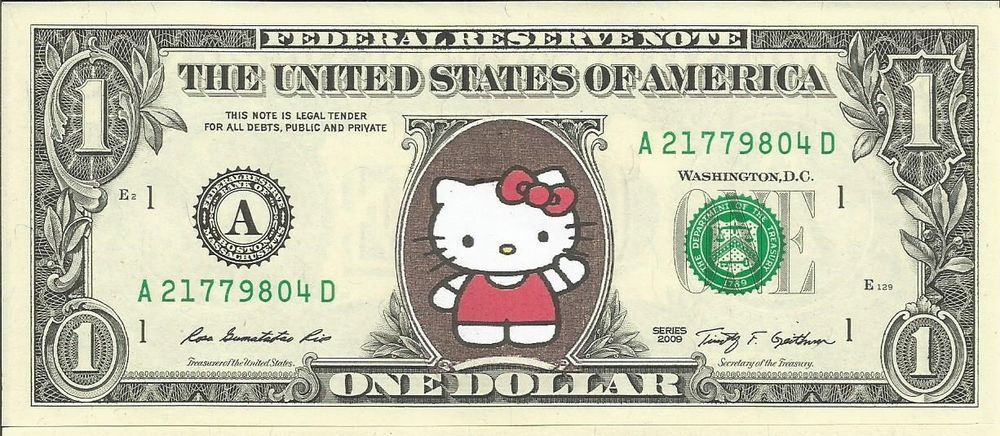 Hello Kitty Color Dollar Bill Real