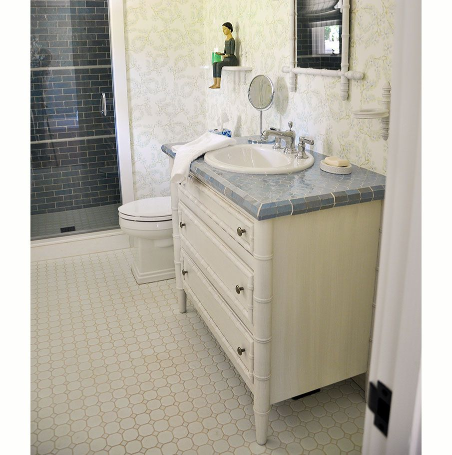 Installed Bristol Sink Base Vanity. Finished in Sea Pearl | Bathroom ...