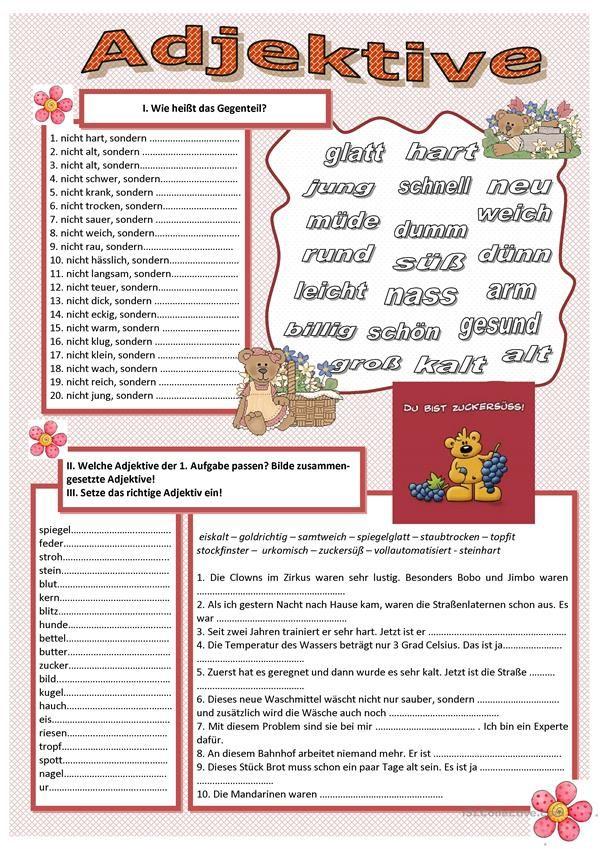 Adjektive | Deutsch für Kinder (Arbeitsblätter) | Pinterest | Worksheets