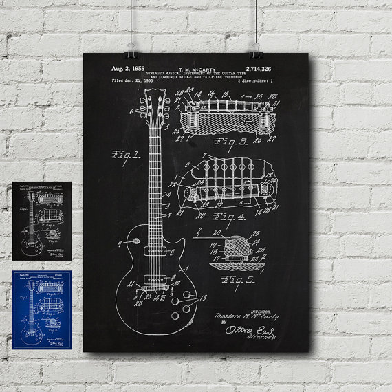 Gibson les paul patent request print guitar electric fender gibson les paul patent request print guitar electric fender stratocaster sg vintage blueprint wall decor wall art cool gift malvernweather Gallery