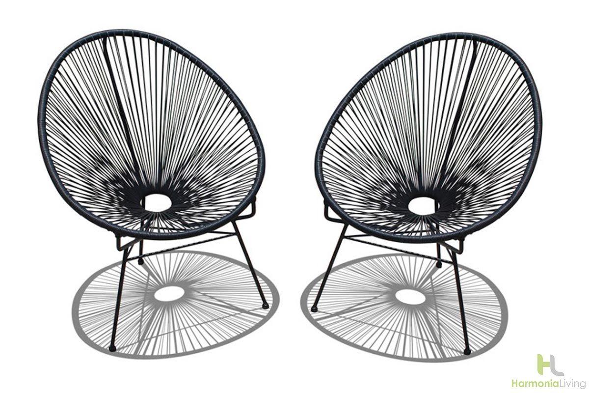 Jet Black Finish Chair Set Chair Acapulco Chair