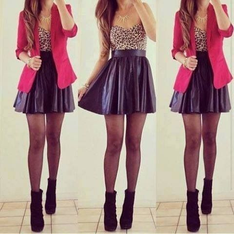Black leather high waist skirt