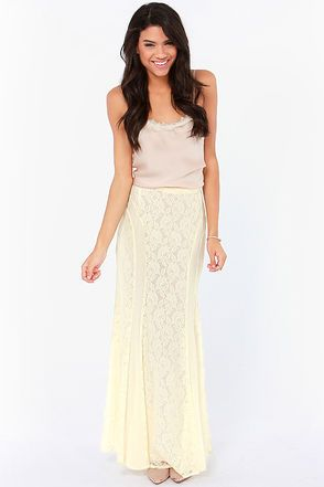 Pretty Cream Skirt - Lace Skirt - Maxi Skirt - $59.00