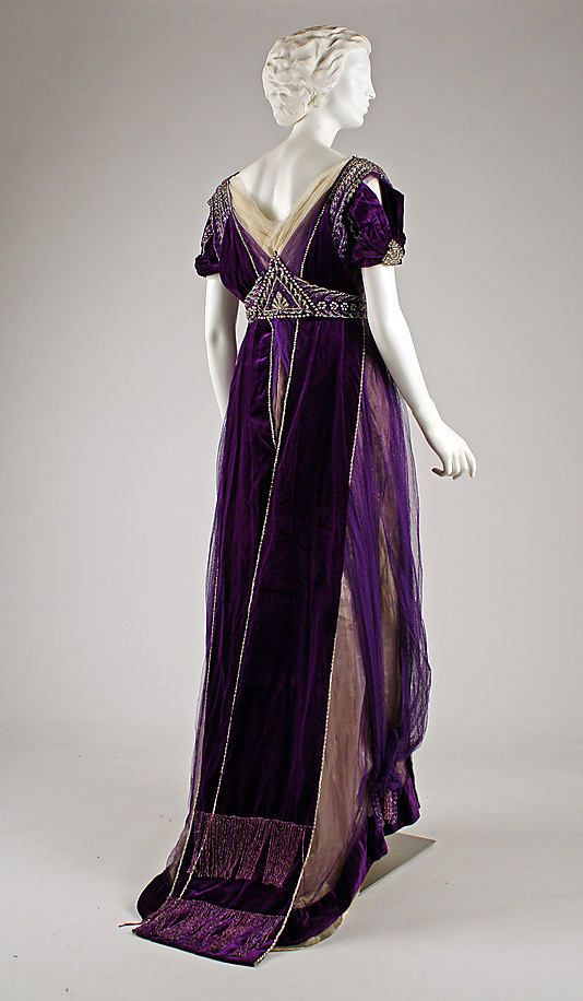 Beaded and embroidered purple silk velvet and chiffon evening gown by House of Worth (back), French, ca. 1910.