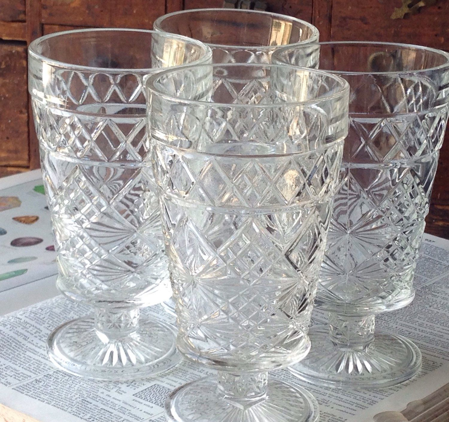 Superb Cape Cod Glass Company Part - 5: Pressed Glass Goblets - Set Of 4 - Cape Cod By Imperial Glass Co - Circa