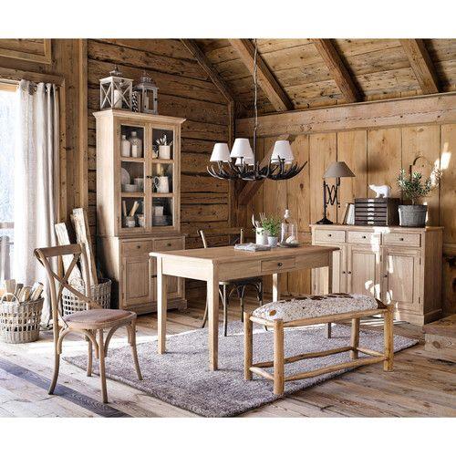 Vaisselier en bois de paulownia grisé L 90 cm