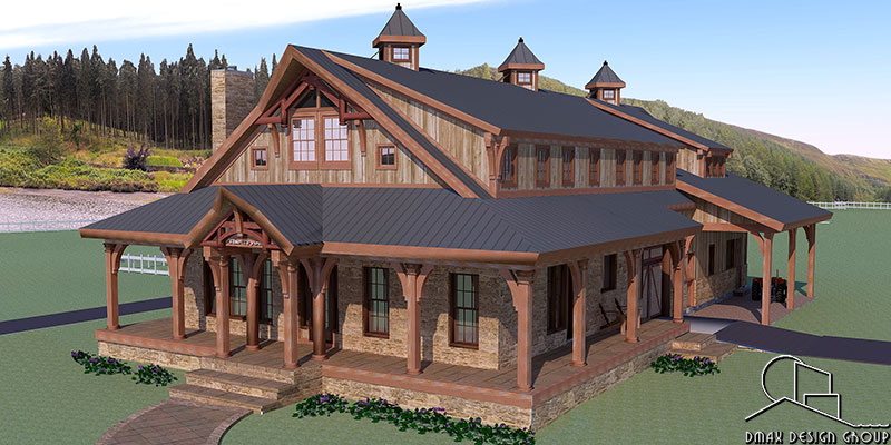 Tryon Horse Barn with Living Quarters Floor Plans