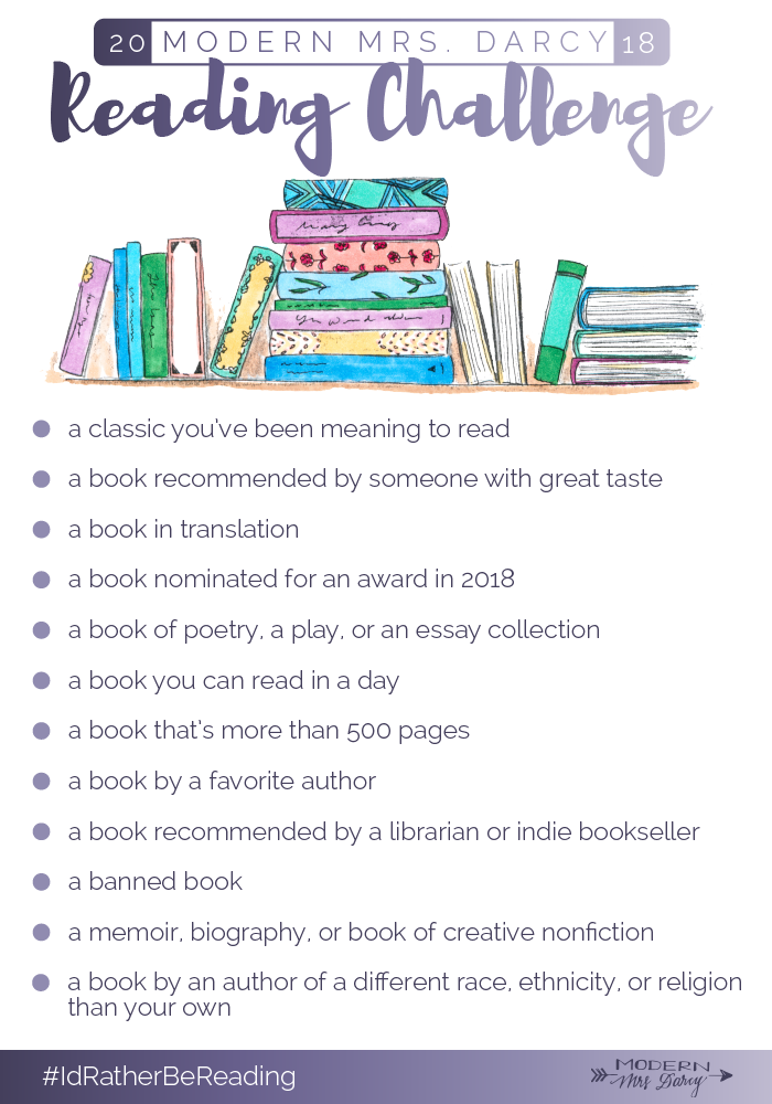 The 2018 Reading Challenge Modern Mrs Darcy Reading Challenge Book Challenge Book Worth Reading